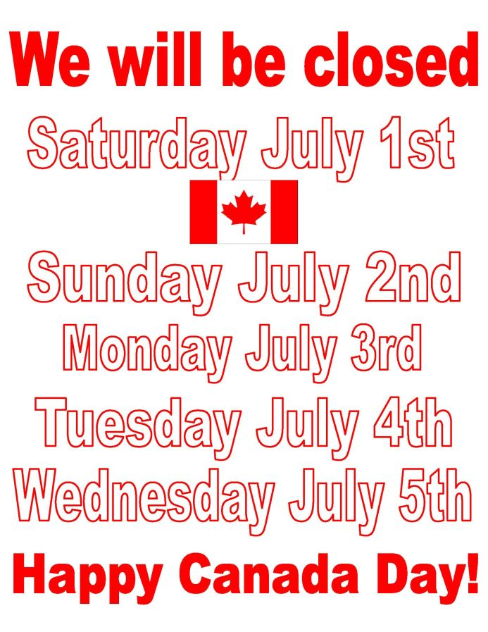 Closed the week of Canada Day